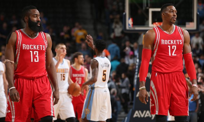 James Harden (L) and Dwight Howard (R) of the Houston Rockets may not be teammates for much longer. (Doug Pensinger/Getty Images)