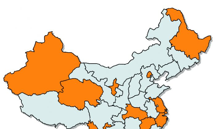 The 13 provinces where public security chiefs are being replaced are mark in orange. (Epoch Times)