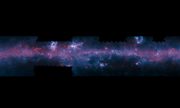 An image of the Milky Way has been released to mark the completion of the APEX Telescope Large Area Survey (European Southern Observatory/APEX/NASA)