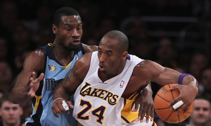 Kobe Bryant and Tony Allen met in the NBA Finals twice when the Lakers and Celtics faced off in both 2008 and 2010. (Jeff Gross/Getty Images)