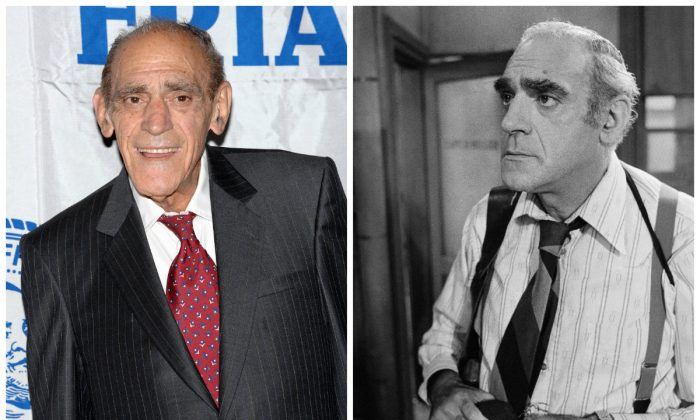 "Abe Vigoda: (L) At The Motion Picture Club's Annual Luncheon, Oct. 6, 2005. (Marriott Marquis, NYC) (R) Playing his most famous character, Detective Fish in ""Barney Miller,"" Aug. 8, 1977. (AP Photo/Jeff Robbins)"