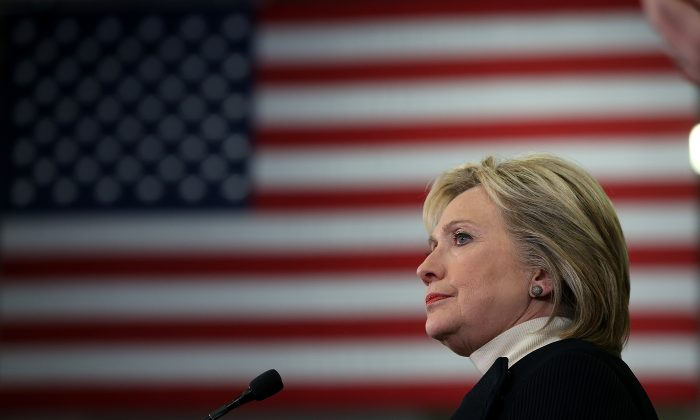 Democratic presidential candidate Hillary Clinton speaks at her primary night gathering at Southern New Hampshire University in Hooksett, N.H., on Feb. 9, 2016. (Justin Sullivan/Getty Images)