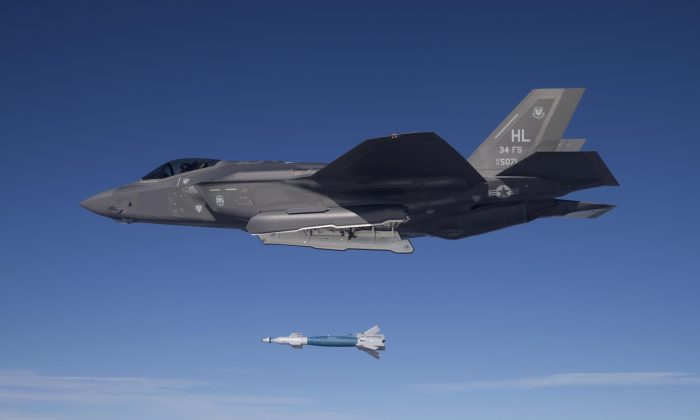 Lt. Col. George Watkins, 34th Fighter Squadron commander, drops a GBU-12 laser-guided bomb from an F-35A at the Utah Test and Training Range on Feb. 25, 2016. (U.S. Air Force photo by Jim Haseltine)