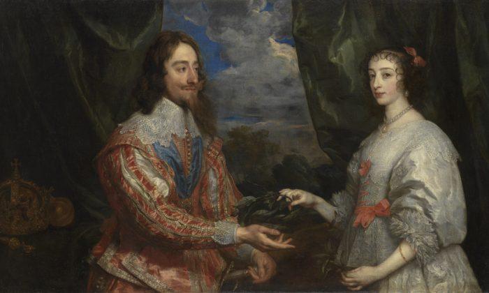 """""""Charles I and Henrietta Maria Holding a Laurel Wreath"""" 1632 by Anthony van Dyck (1599-1641) Oil on canvas Arcibiskupský zámek a zahrady v Kroměříži, Kroměříž."""