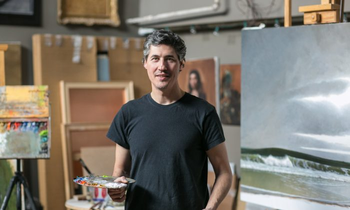 Painter Edward Minoff works in a studio in downtown New York on Feb. 18, 2016.  (Benjamin Chasteen/Epoch Times)