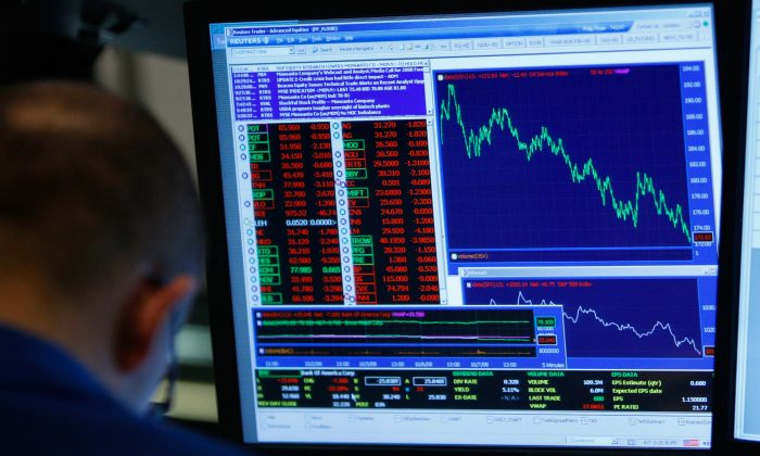 (FILE) A trader works on the floor of the New York Stock Exchange on Oct. 7, 2008. (Mario Tama/Getty Images)