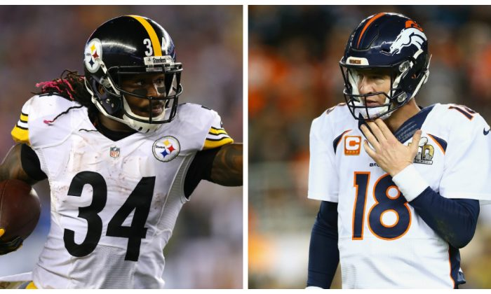 DeAngelo Williams and the Pittsburgh Steelers fell to Peyton Manning and the Denver Broncos in the AFC Divisional Round 23–16. (left photo by Maddie Meyer/Getty Images, right photo by Ronald Martinez/Getty Images)