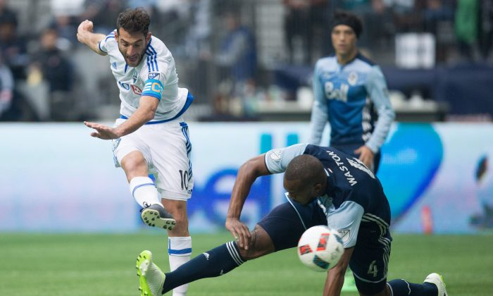 MontrealImpact's Ignacio Piatti scores a fantastic goal in Vancouver on March 6, 2016. The Impact handed the Whitecaps a second straight opening day home loss to a Canadian team. (The Canadian Press/Darryl Dyck)