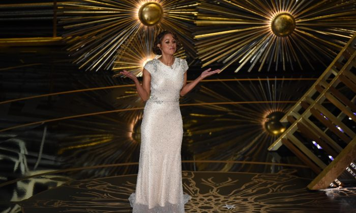 Actress Stacy Dash presents on stage at the 88th Oscars on February 28, 2016 (Photo credit  MARK RALSTON/AFP/Getty Images)