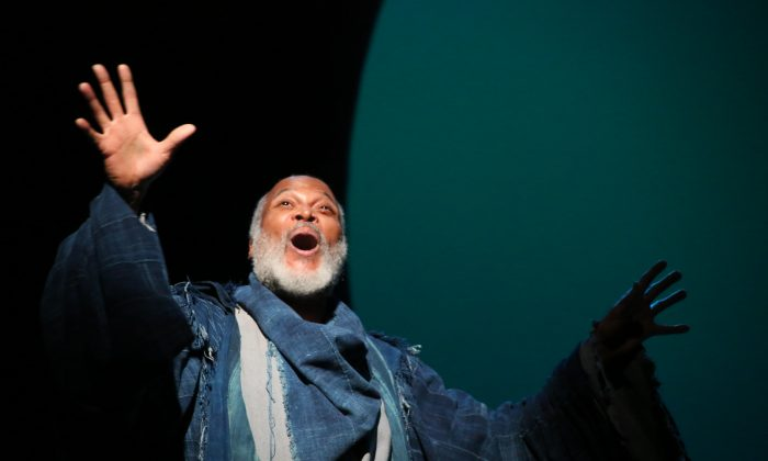 """Storyteller Gower (Raphael Nash Thompson) narrates """"Pericles,"""" a story with tragic losses and miraculous reunions. (Gerry Goodstein)"""