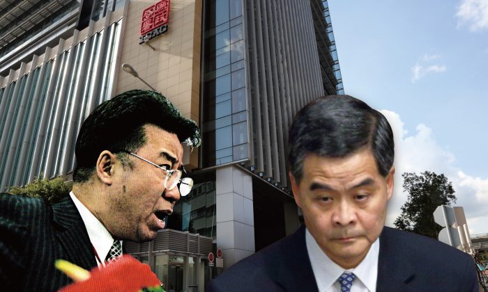 """(L-R) Lew Mon-hung """"Dream Bear"""" with CY Leung. (Composed photo by Epoch Times)"""