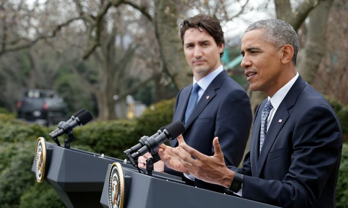 President Barack Obama and Canadian Prime Minister Justin Trudeau hold a joint press conference in the Rose Garden of the White House in Washington, D.C., on March 10, 2016. (Chip Somodevilla/Getty Images)
