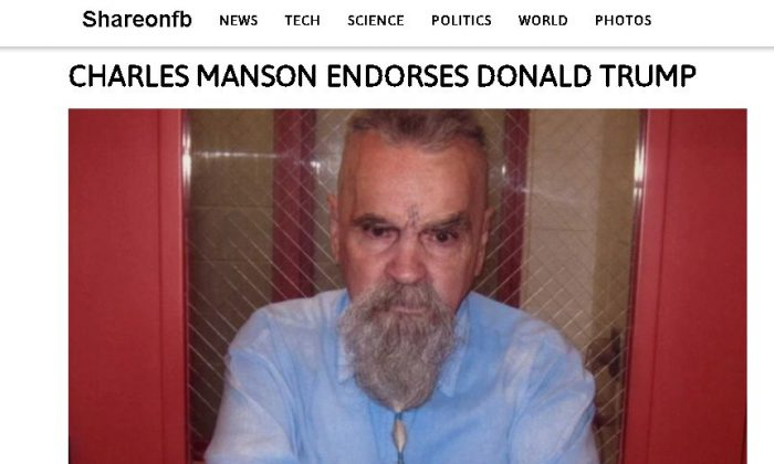 Charles Manson didn't endorse Donald Trump.  (Screenshot/shareonfb.com)