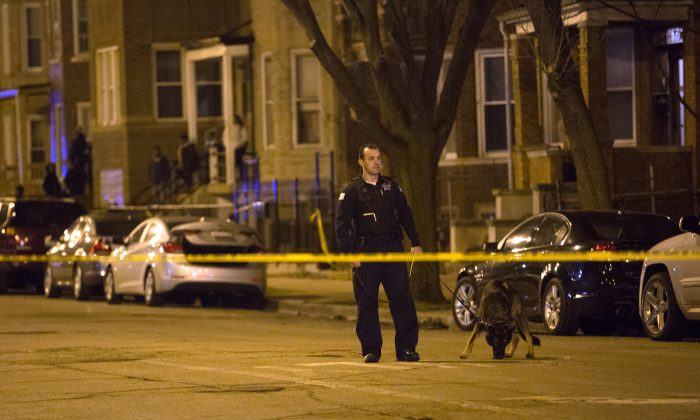 A Chicago crime scene on March 14, 2016.  (Erin Hooley/Chicago Tribune via AP)