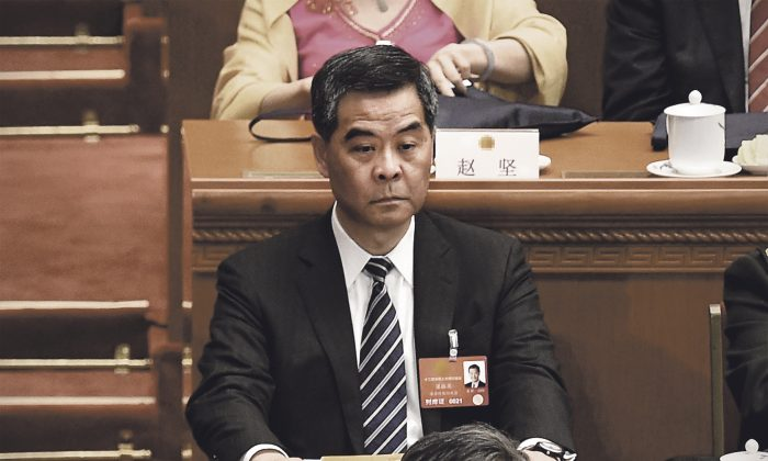 Leung Chun-ying attends the opening ceremony of the National People's Congress at the Great Hall of the People in Beijing on March 5, 2016. (Wang Zhao/AFP/Getty Images)