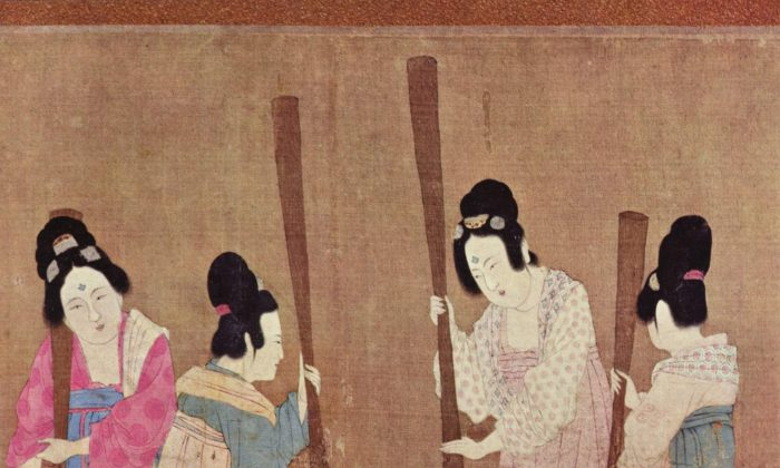 "Detail of of the painting ""Court Ladies Preparing Newly Woven Silk"" by Tang Dynasty artist Zhang Xuan. (Public Domain)"