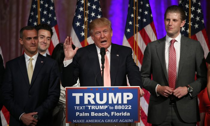 Republican presidential candidate Donald Trump speaks during a primary night press conference in Palm Beach, Florida on March 15, 2016. (Win McNamee/Getty Images)