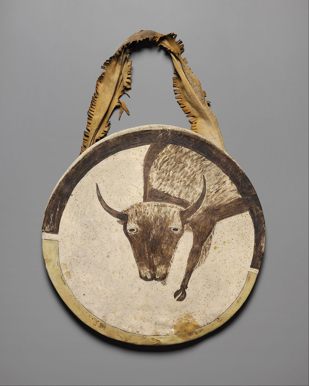 A file photo of a rawhide shield, ca. 1850, at the Nelson-Atkins Museum of Art. (Public Domain)