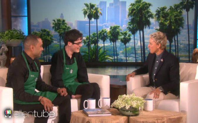 Chris Ali (L), Sam Forbes (C), and Ellen DeGeneres (R). (Screenshot/TheEllenShow/YouTube)
