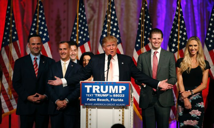 Republican presidential candidate Donald Trump addresses the media following victory in the Florida state primary on March 15, 2016 in West Palm Beach, Florida.  / AFP / RHONA WISE        (Photo credit should read RHONA WISE/AFP/Getty Images)