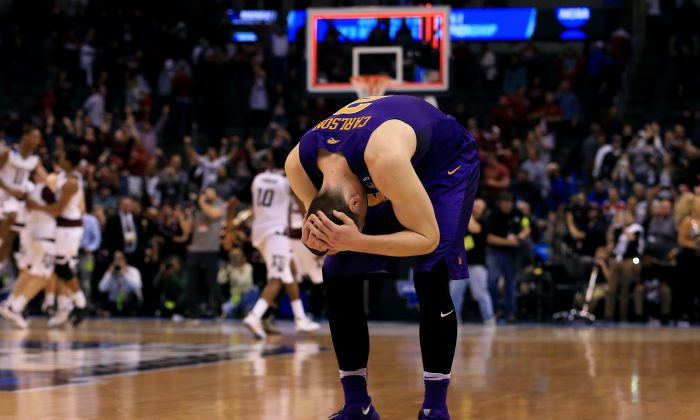 Klint Carlson and the Northern Iowa Panthers had a 12-point lead with 44 seconds left against the Texas A&M Aggies, yet they ended up blowing the lead and losing in 2OT. (Tom Pennington/Getty Images)