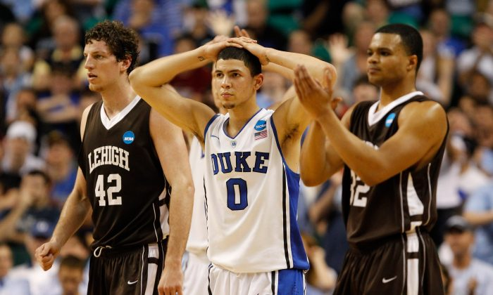 Austin Rivers (C) of the Duke Blue Devils was on the wrong end of one of the NCAA's biggest upsets when his favored team lost to Lehigh in 2012. (Streeter Lecka/Getty Images)