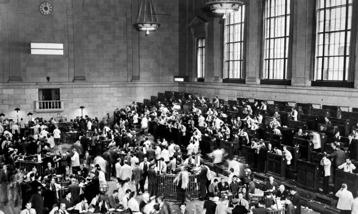Traders rush in Wall Street as New York Stock Exchange crashed, sparking a run on banks that spread across the country in October 1929, the beginning of the Stock Market Crash. (OFF/AFP/Getty Images)