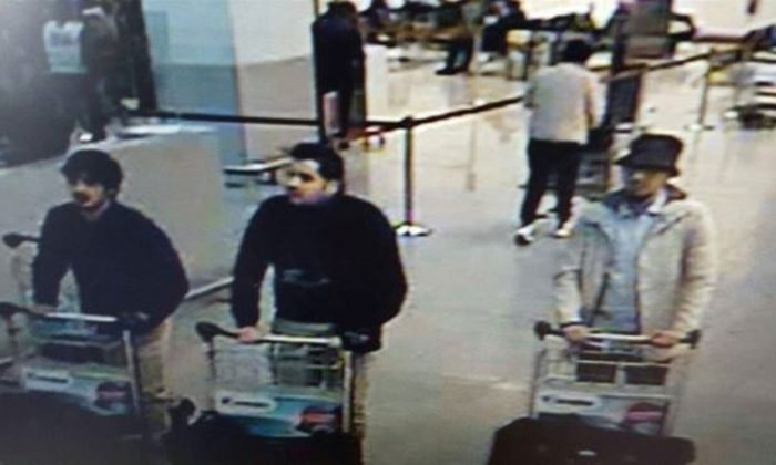 Three men who are suspected of taking part in the attacks at Belgium's Zaventem Airport and are being sought by police. (Belgian Federal Police via AP)