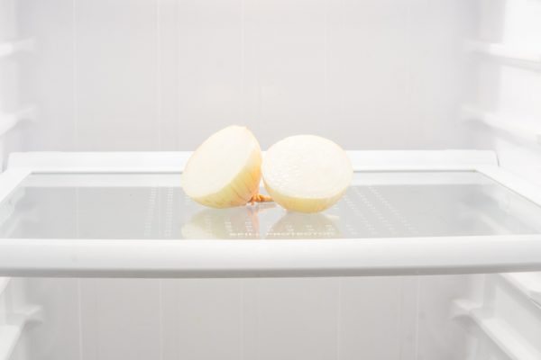 Onion. Bulb. Bulb in the refrigerator