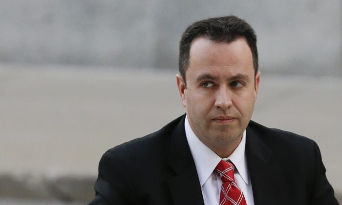 Former Subway pitchman Jared Fogle arrives at the federal courthouse in Indianapolis. Fogle's ex-wife Katie McLaughlin filed a lawsuit against Subway, claiming the sandwich restaurant knew Fogle was a pedophile on Oct. 24. (AP Photo/Michael Conroy, File)