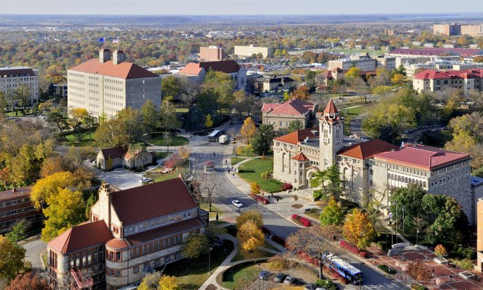 Aerial photo showing Kansas University's Spooner Hall, Fraser Hall, and Dyche Hall cloclwise from bottom-left). (Photo courtesy of KU)
