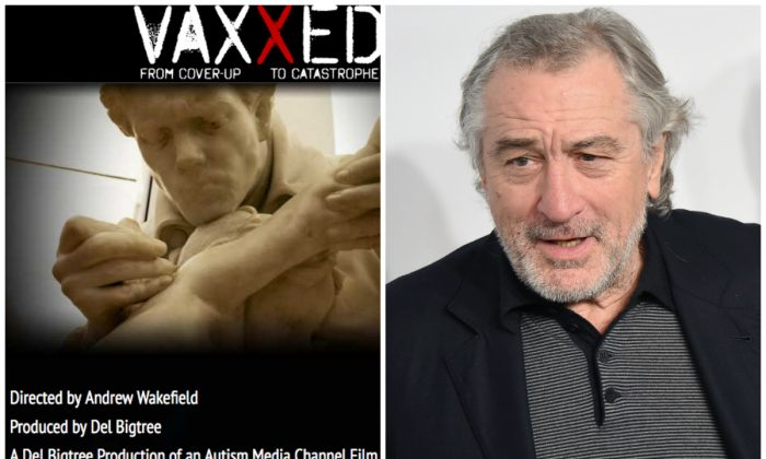 "A screenshot of the ""Vaxxed"" film poster next to Robert de Niro. (Nicholas Hunt/Getty Images)"