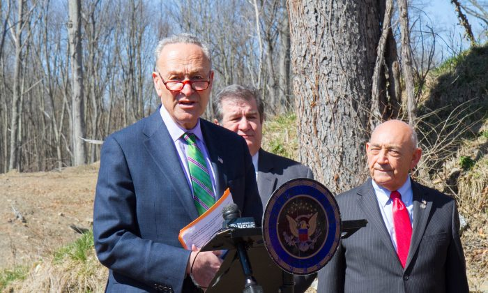 (Front) Senator Charles Schumer (D-New York), Middletown Mayor Joseph DeStefano (L) and County Legislator Phil Canterino at a press conference about Amy's Kitchen near Hartley and Echo Lake Roads in Goshen on March 29, 2016. (Holly Kellum/Epoch Times)