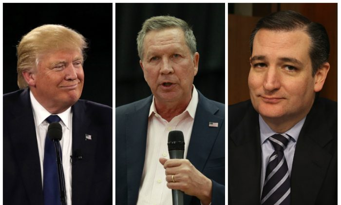 Republican presidential candidates Donald Trump, John Kasich, and Ted Cruz. (Alex Wong/Getty Images, George Frey/Getty Images, Mark Wilson/Getty Images)