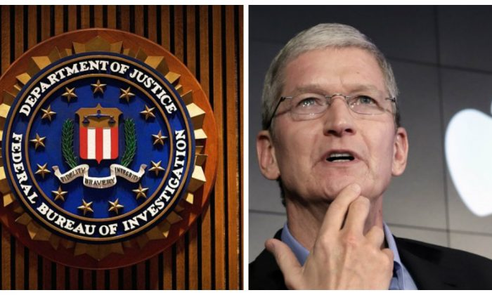 The crest of the Federal Bureau of Investigation. (Mandel Ngan/AFP/Getty Images); File photo, Apple CEO Tim Cook. (AP Photo/Richard Drew, File)