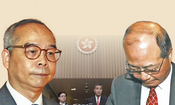 Two secretaries of Chief Executive Leung Chun-ying, Secretary for Home Affairs Lau Kong-wah and Secretary for Education Eddie Ng Hak-kim, have been caught up in a controversy. (Composed photo by Epoch Times)