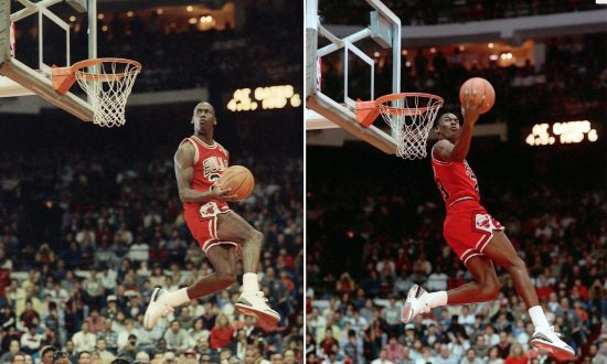 Michael Jordan of the Chicago Bulls during the 1988 slam-dunk competition  in Chicago. 3587de6748