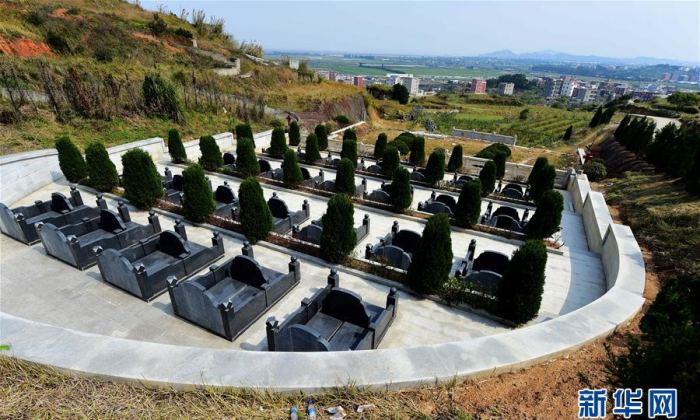 The private burial ground belonging to the Chens in Fujian Province. (via Xinhua)