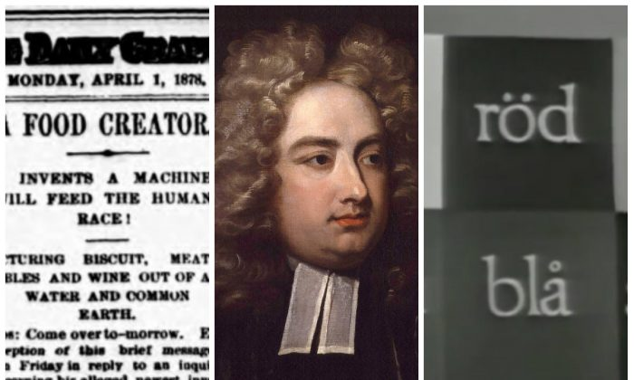 Thomas Edison, Jonathan Swift, and Swedish national  television have all gotten in on past April Fools fun. (Public Domain/ Public Domain/ YouTube)