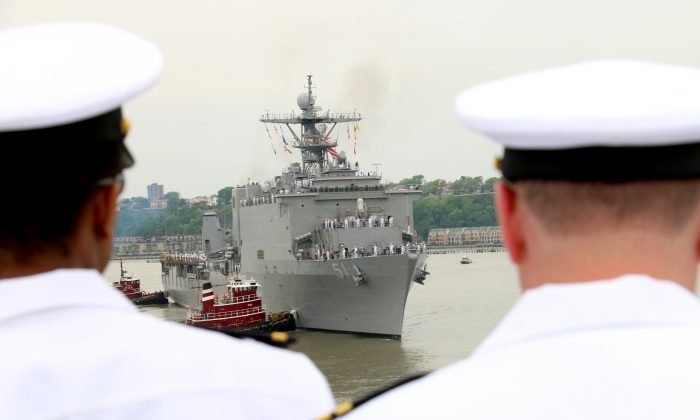 US Navy and Coast Guard ships arrive for Fleet Week in New York City, May 21, 2014. (Allen Xie/Epoch Times)