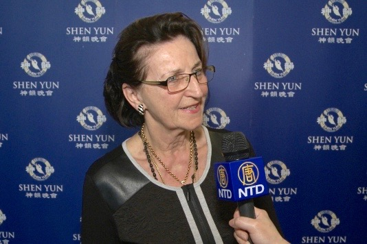 Ms. Renate Kirschke said that the Shen Yun music is filling her mind, at the Grosses Festspielhaus, in Austria. (Courtesy of NTD Television)