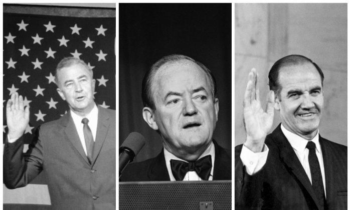 (L-R): Sen. Eugene McCarthy, June 17, 1968. (AP Photo/DP); Vice President Hubert Humphrey, April 4, 1968 (AP Photo/Charles Harrity); Sen. George McGovern, Aug. 10, 1968. (AP Photo)