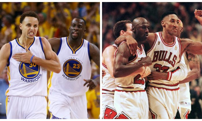 Left photo: Stephen Curry (L) and Draymond Green helped lead the Warriors to the 2015 NBA title. (Ezra Shaw/Getty Images) Right photo: Scottie Pippen (R) and Michael Jordan led Chicago to six NBA titles during the 90s, including the 72-win season in 1996. (Vincent Laforet/AFP/Getty Images)