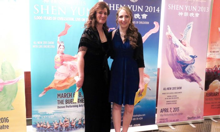 Ms. Lisa Denigan brought her niece, Joy Denigan, to Shen Yun, in Colorado Springs, to have a rich cultural experience. (Cat Rooney/Epoch Times)
