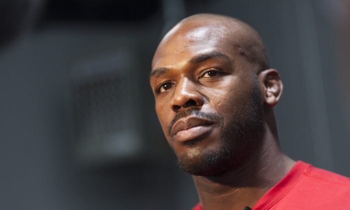 UFC lightweight champion Jon 'Bones' Jones interacts with media during an open training session for fans and media at the Jackson's Mixed Martial Arts and Fitness on April 2, 2014 in Albuquerque, New Mexico. (Aaron Sweet/Getty Images)