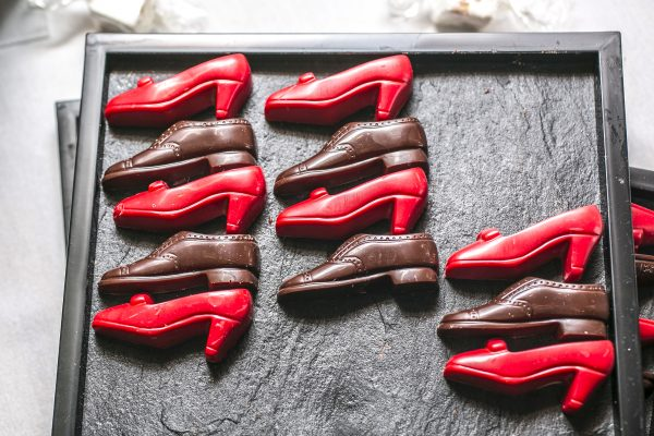 Chocolate shoes by chef Luc Guillet (Lyon, France). (Samira Bouaou/Epoch Times)