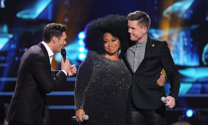 "Either La'Porsha Renae (Center) or Trent Harmon (Right) will be crowned the last ""American Idol"" winner (Fox)"