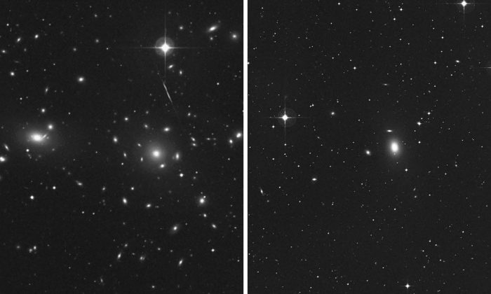 (L-R) Comparison of the central portions of the dense Coma Cluster with the sparse NGC 1600 galaxy group (Second Palomar Observatory Sky Survey).
