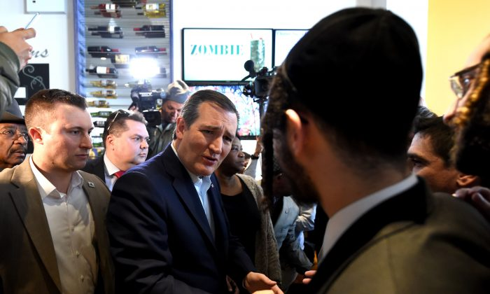 Republican presidential candidate Ted Cruz visits the Sabrosura Restaurant in the Bronx section of New York on April 6, 2016.   (TIMOTHY  A. CLARY/AFP/Getty Images)