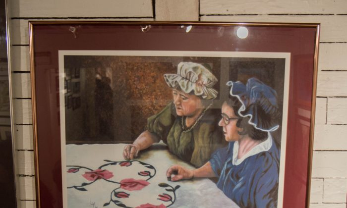 A giclée print called Quilters by Lillian Longendorfer at the UpFront Exhibition Spce in Port Jervis on April 8, 2016. (Holly Kellum/Epoch Times)